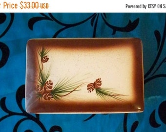 ON SALE Vintage Rocky Mountain Pottery Pine Cone Design Mid Century Cigarette / Coin / Trinket / Jewelry Box