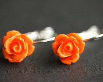 Orange Rose Dangle Earrings. Orange Earrings. Rose Earrings. Silver Lever Back Flower Earrings. Flower Jewelry. Handmade Jewelry.