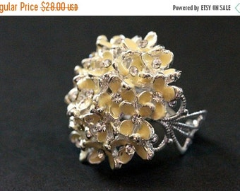 VALENTINE SALE Ivory Flowers Button Ring in Silver with Rhinestone Centers. Adjustable Size Ring. Handmade Jewelry.