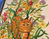 LARGE Framed crewel embroidery cat in flowers