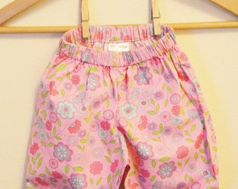Pink Flowered Baby Pants