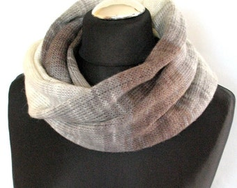 Brown Striped Infinity Scarf Cowl Wrap Beige Gray