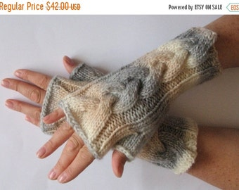 Fingerless Gloves Mittens Beige Milk White Cream Gray Wrist Warmers Knit