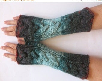 Blue Fingerless Gloves Knit Gloves Winter Gloves Orange Brown Black Long Fingerless Gloves