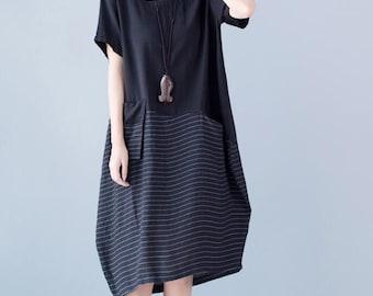Women Black Lantern long dress Loose Fitting maternity dress
