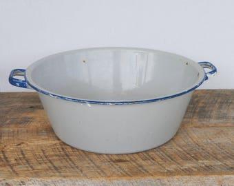 Vintage Round Enamelware Tub With Handles Grey with Blue Trim