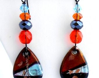 Earrings, Black/Orange/Blue/Gold/Silver Earrings, Dichroic Glass Earrings, Modern Earrings, Dangle Earrings