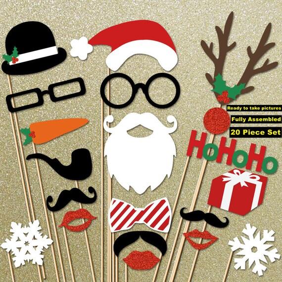 Christmas Decorations - Christmas Photo Props 20 Piece Set - Christmas Decoration - Holiday Photo Booth Props