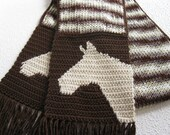 Knitted Horse Scarf. Brown striped scarf with crochet horse head silhouettes. Knit animal scarves. Horse lover