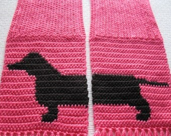 Pink Dachshund Scarf. Neon pink knit scarf with crochet Dachshund dog