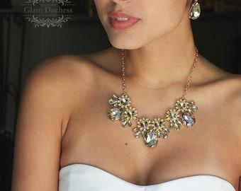 Wedding jewelry set ,bridal jewelry set, Bridal necklace earrings, vintage inspired rhinestone jewelry, Champagne crystal jewelry set