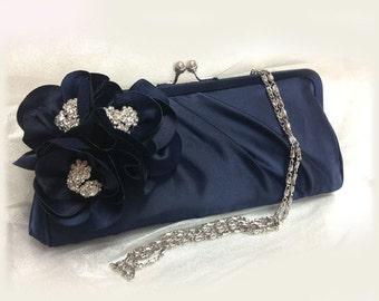 Wedding clutch, Bridesmaid clutch, Navy blue clutch, evening bag, Bridesmaid bag, crystal clutch, flower bag