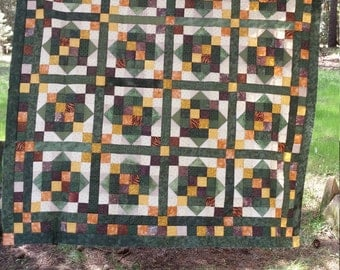 Quilt in Browns, Greens and Golds