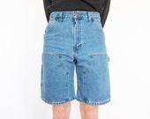 Vtg Carhartt Stonewash Denim Cargo Shorts / Jean Shorts / 29 Waist