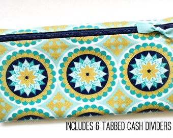 Envelope wallet with 6 cash dividers for Dave Ramsey budget | exclusive navy, turquoise, mint, and gold laminated cotton