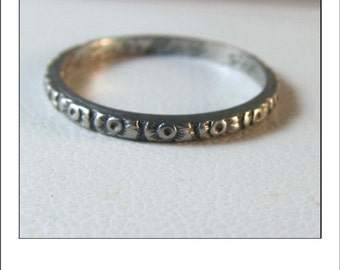Antique Platinum Art Deco Floral Engraved  Wedding Band inscribed Feb 18 1922