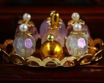 Dolls House Miniature Scent Bottles On Tray