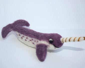miniature narwhal purple needle felted sculpture