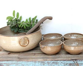 handmade punch bowl set, Makgeolli bowl set, pottery punch bowl, ceramic punch bowl, cocktail serving bowl