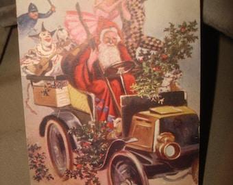 Christmas SANTA CLAUS Antique Postcard Tuck's Oilette #8320 Auto Car Pierrot Policeman