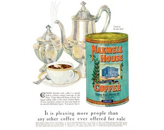 Instant Download Printable Art, Maxwell House, Coffee Ads, Wall Art Decor, Digital Download Print