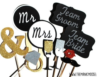 ULTIMATE Wedding Photo Booth Props ~ Wedding Props ~ Team Bride and Team Groom / Mr and Mrs /~ 10 Piece Prop Set