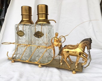 Hollywood Regency Decanter Set horse and wagon or carriage figural glass and brass vintage liquor pump dispenser