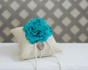 Turquoise Peony ring bearer pillow. Customize with flower and bride and groom initials