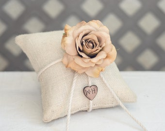 champagne Rose ring bearer pillow. Customize with flower and bride and groom initials