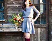 Mini casual grey dress with circular skirt