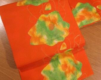 Vintage Mod 70s-80s Japanese Nagoya Obi - Bright Orange w/ Lime Green / Yellow / Gold Rose Pattern - Xlnt.