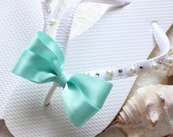 Bridesmaid Gift idea, Seafoam flip flops, Aqua green sandals, wedding beach, shower gift ideas, bridal shower ideas, bridal gift ideas