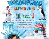 Personalize Winter Wonderland invitation, Penguin Party, Snowball Fight Invite
