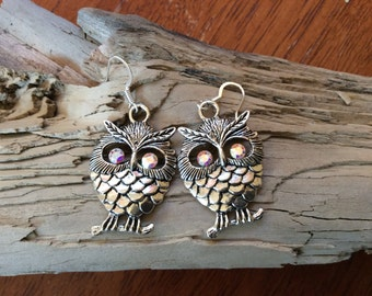 Silver owl earrings/ rainbow Swarovski crystal eyes/ large owl earrings/ large silver owl earrings/ for her/ wedding/ bridesmaids