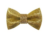 "Glitter Bow - Gold Glitter Bow - Gold Hair Bow - 2 3/4"" Small Hair Clip - Gold Hair Clip"