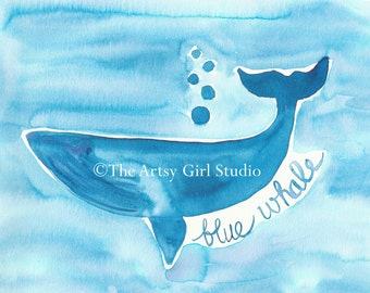 Blue Whale Art Print - available in three sizes