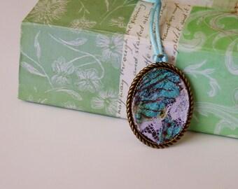 Textile pendant, metal pendant, lace, necklace, summer trends, spring, blue, white,wedding, prom, graduation unique gift, handmade pendant,