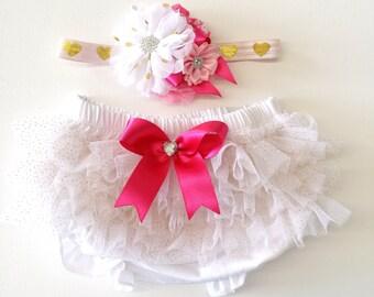 White & Hot Pink Chiffon Ruffle Bloomers and Matching Headband Baby Gift 1st birthday