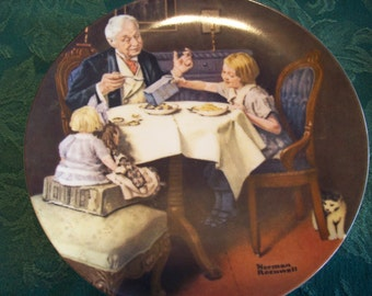 1984 Norman Rockwell Collector Plate, The Gourmet by Norman Rockwell Plate 10286P, Produced by Knowles Fine China