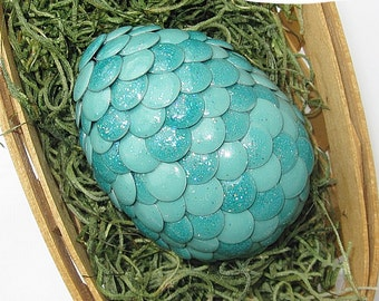 Dragon Egg - Sea Green with Multi-Colored Sparkles - Easter, Mythical Decor