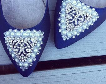SALE - size 7 Navy Art Deco Bridal Ballet Flats