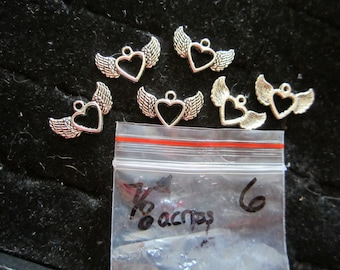 6 Flying Heart Charms, 7/8 inch size.