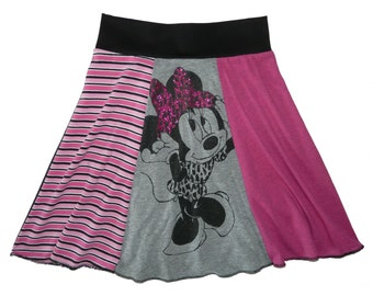 Disney Minnie Mouse Girls Size 10 12 Hippie Skirt Tween upcycled t-shirt clothing from TWINKLE