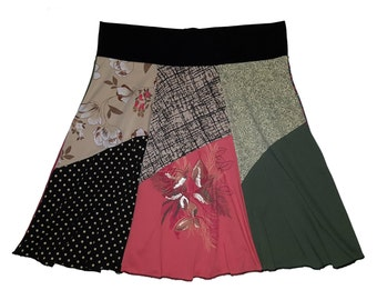 Plus Size 2X 3X Upcycled Boho Hippie Skirt Women's recycled t-shirt clothing from Twinkle