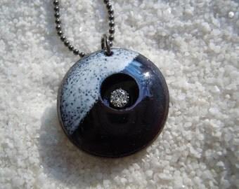 Black and white enamel pendant necklace jewelry