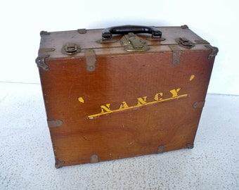 """Vintage Roller Skates Case Wood Box Hinged Wooden """"NANCY"""""""