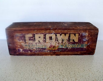 Antique Wooden Handmade Box Fruit Crate Produce Crown Sanger CA