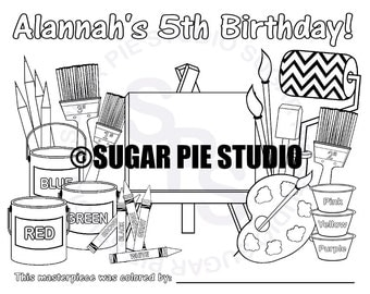 Personalized Printable Art Painting  Birthday Party Favor childrens kids coloring page activity PDF or JPEG file