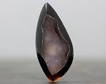Natural Black Drusy Druzy Gemstone Flat Back Agate Quartz Crystal Jewelry Pendant Crafting Supply Tool Loose Geode (CA5027)