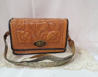 Vintage Leather Purse Hand Tooled National Bags Made In Mexico Faux Tortoise Shell